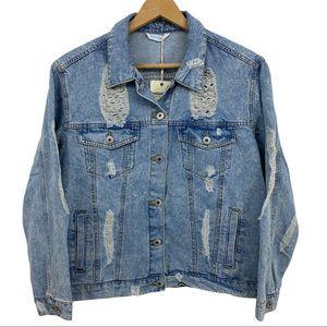 NWT Highway Jeans Distressed Denim Jacket Sz Lg